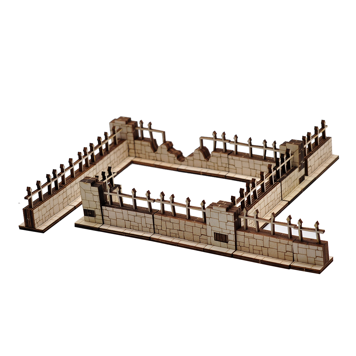 CZYY D&D Brick and Iron Fences Miniature (Set of 16) Wood Laser Cut Modular Fantasy Terrain 28mm Scale Perfect for Dungeons & Dragons, Warhammer and Other Tabletop RPG