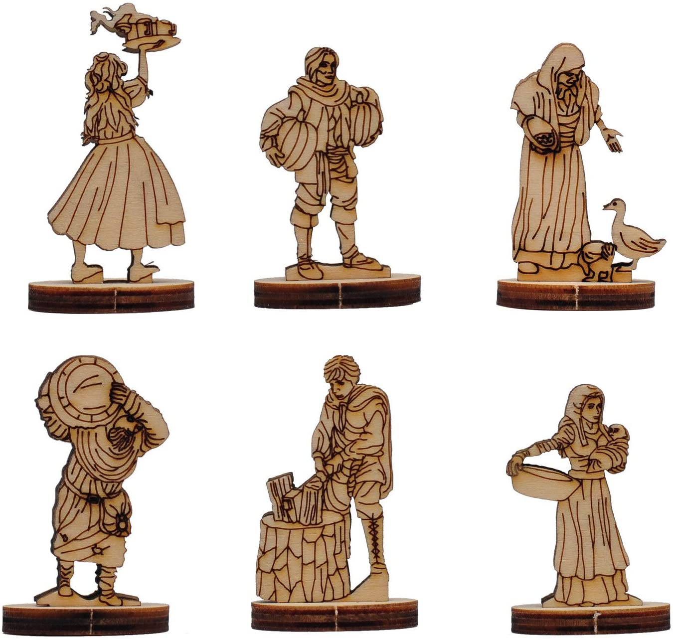 RPG Miniatures Medieval Townsfolk Figures Collection Set of 6 Wood Laser Cut 28mm Villagers NPCs for D&D, Pathfinder & other Fantasy Tabletop Role Playing Games