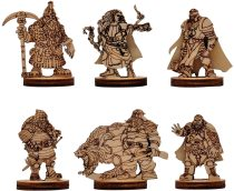 D&D Fantasy Dwarf Miniatures Wood Laser Cut Dwarven Figures 6PCS Set Perfect for Dungeons and Dragons, Pathfinder and Other Tabletop RPG