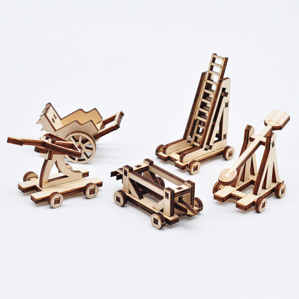 D&D Siege Equipment Pack Wooden Medieval War Machine Siege Ladder, Ballista, Catapult, Battering Ram and Ramp Shield Miniature Terrain for Warhammer, Pathfinder and Tabletop RPG