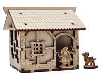 D&D Medieval Small House Wood Fantasy Village Tabletop Terrain Scatter 28mm for Dungeons and Dragons, Warhammer and Other Wargaming RPG Games