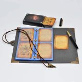D&D Spellbook Card Holder Faux Leather Spell & Monster Cards Binder with 54 Custom Player Cards Perfect for Caster