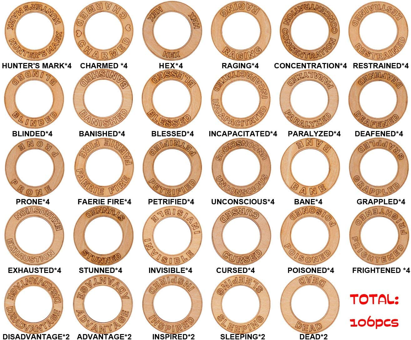 D&D Condition Rings 106 PCS Wooden Status Effect Markers in 29 Conditions Great DM Tool for Dungeons & Dragons, Pathfinder and RPG Miniatures