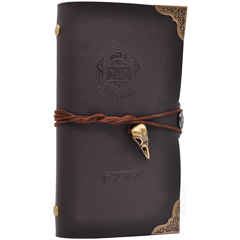 D&D Campaign Journal A6 Notebook with Embossed PU Leather Cover and 80 Blank Pages Great RPG Notepad for GM & Player