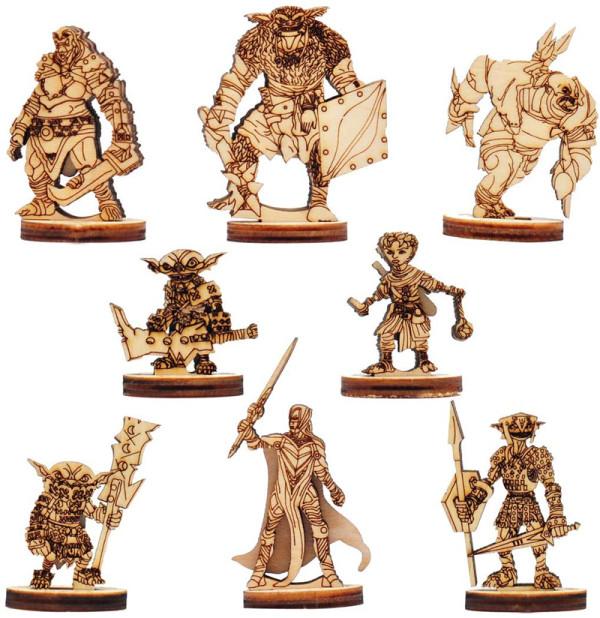 Fantasy Pathfinder Battle Miniatures Wooden Laser Cut Set of 8 Minis Figures for Legendary Adventures