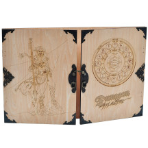 Wood Dungeon Master's DM Screen Laser Carved Dragon and Flamel Cross Decorated with Antique Bronze Rivets 3-Panel with Metal Clips - D&D, Tabletop RPG Accessory for Game Master
