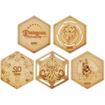 D&D Decorative Wood Coasters Cool & Unique Table Mug Cup Mats Laser Engraved with Dragon, D20 and Cthulhu (Set of 5)