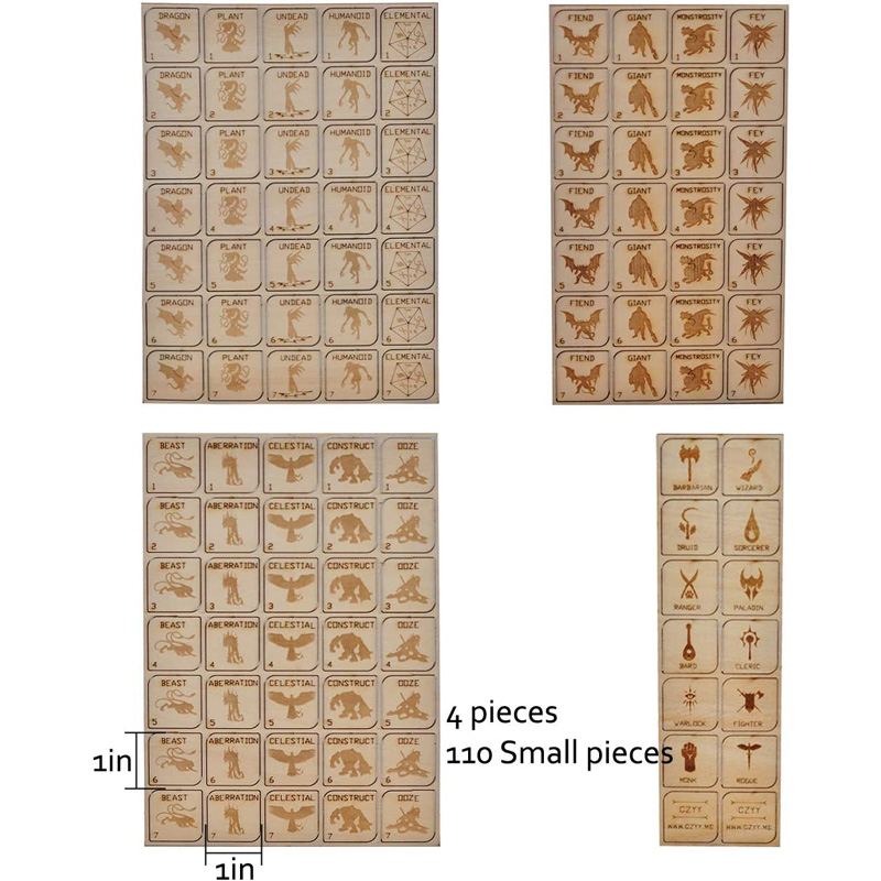 D&D Tabletop Game Tokens Wood Laser Cut Fantasy RPG Hero and Monster Token Set of 110 Pieces Perfect for Dungeons & Dragons and Pathfinder