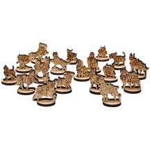 Dungeons and Doggies Miniatures Set of 18 Wood Laser Cut Fantasy D&D Doggy Mini for Animal Adventures