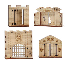 Door & Portcullis Gate Miniatures (Set of 4) Wooden Laser Cut Open and Closed Fantasy Terrain 28mm Scale for Dungeons & Dragons, Pathfinder and Other Tabletop RPG