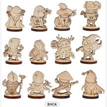 D&D Fantasy Miniatures 12 Cute Character Classes Set 2.5D Wood Laser Cut Figures 28mm Scale Perfect for Dungeons and Dragons, Pathfinder and Other Tabletop RPG