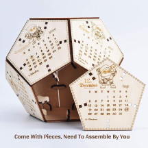 2021 Dodecahedron Desk Calendar 3D D12 Dice Wooden Laser Engraved with 12 Cute D&D Classes Nerd Geek Gift for DM, GM and Tabletop RPG Gamer
