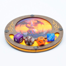 D&D Dice Tray Coaster Wood and Acrylic - Holds Drinks and Dice in Style for RPG and Tabletop Games - D&D Coaster