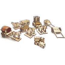 D&D Carts and Wagons Miniatures Set with Horse, Crate, Barrel and Prison Cage Wooden Laser Cut 28mm Tabletop Scatter Terrain for Warhammer, Wargaming RPG Games