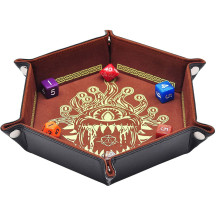 D&D Dice Tray PU Leather Hexagon Dice Holder Printed with Beholder Portable and Foldable Dice Rolling Mat for Board Game and Tabletop RPG