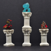 Pillar Miniatures Roman Style Columns 2-1/2  Tall Set of 4 Resin Fantasy Scatter Terrain for Dungeons and Dragons, Warhammer, Pathfinder and Tabletop RPG