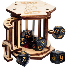 DND Dice Jail Prison with Polyhedral Dice Set Wood Cage for Your Bad Dice
