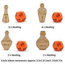 Healing Potion Tokens Set of 21 Wood Laser Cut and Etched DND Accessories for Dungeons and Dragons 5th Edition