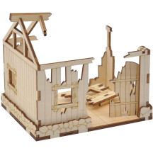 Ruined House Wooden Destroyed Building Medieval Fantasy Village Terrain Scatter for Dungeons and Dragons, Wargame, D&D and Tabletop RPG