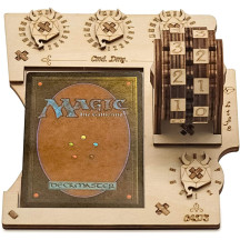 MTG Commander EDH Command Zone Tray with Life Counter Wooden Compatible with Magic The Gathering