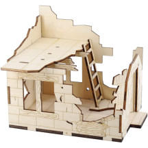 DND Ruined House Wooden 2-Level Destroyed Building Medieval Fantasy Village Terrain Scatter for Dungeons and Dragons, Pathfinder, D&D and Tabletop RPG