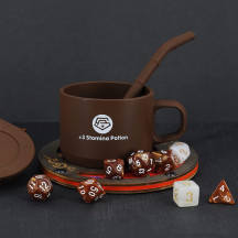 DND Coffee & Sugar Themed Dice Set (14 PCS) with +3 Stamina Potion Silicone Mug for Storage, 7 Acrylic Resin Polyhedral Gaming Dice for Dungeons and Dragons, Pathfinder and Tabletop RPG