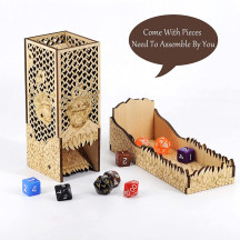 DnD Dice Tower with Tray Wood Laser Etched Beholder Portable and Collapsible Dice Roller Perfect for Board Game and Tabletop RPG