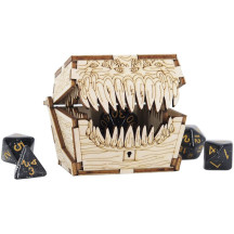DND Mimic Chest Dice Jail Prison with a Random Polyhedral Dice Set Wood Laser Cut and Etched Dice Storage Box for Your Bad Dice