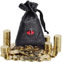 DND Fantasy Coins 50 Antique Gold Metal Treasure Tokens with Leather Pouch - Gaming Loot, Accessories & Props for Dungeons and Dragons, Tabletop RPG, Board or Card Game, LARP and Cosplay