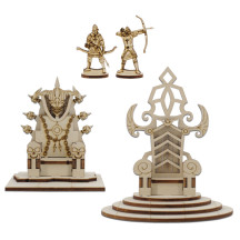 DND Throne Miniatures Set of 2 - Skull Bone Throne & Royal King Chair - Wood Laser Cut 28mm Scale Fantasy Scatter Terrain for Dungeons and Dragons, Warhammer, Pathfinder, Tabletop RPG