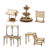Town & Village Square Miniatures Set of 4 - Fountain, Well, Billboard and Gallows - Wood Laser Cut Fantasy Tabletop RPG Gaming Scatter Terrain for Dungeons and Dragons, Pathfinder, D&D