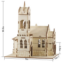 DND Medieval Church Chapel Miniature with Furnishings Wooden Monastery Cathedral 28mm/32mm Tabletop RPG Gaming Terrain Scenery for Dungeons and Dragons, Pathfinder, SW Legion