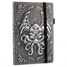 DND Campaign Journal with 3D Cthulhu Embossed Leather Cover - 200 Blank Pages A5 Notebook Great RPG Notepad for GM & Player