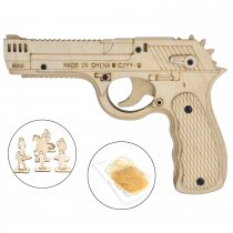 Wooden Rubber Band Gun DIY Assemble Desert Eagle Pistol Toy with Targets Set Perfect for Outdoor, Party, Family Game for Dad, Boyfriend and Husband
