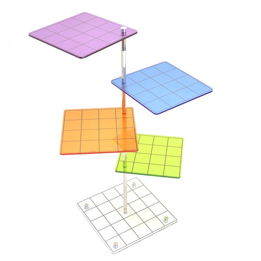 3D Combat Risers Set Colored Acrylic Connected by Metal Pillars Flying Miniature Flight Stand with 1 Inch SquareGrid Great Wargame Space for D&D and Other Tabletop RPG