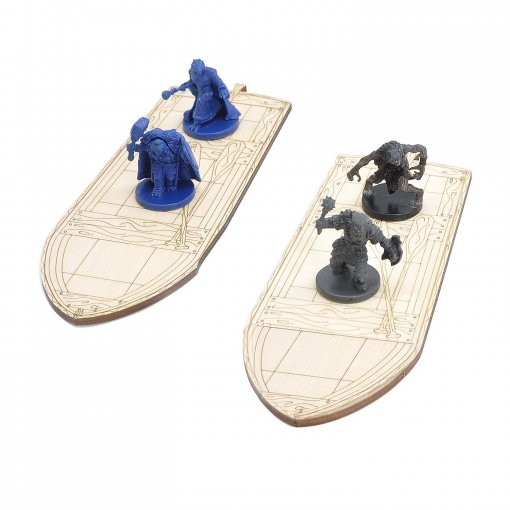 D&D Wooden Row Boat 2PCS Laser Cut Hold Eight 1  Miniatures(Not Included) Perfect for Dungeons and Dragons, Pathfinder or Other Tabletop RPGs