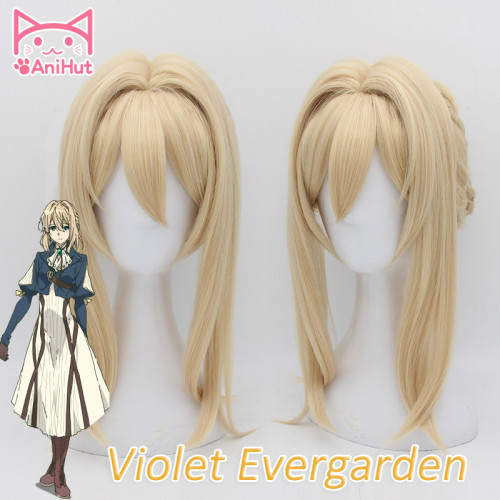 AniHut Violet Evergarden Cosplay Wig Heat Resistant Synthetic Light Blonde Hair Cosplay Wigs For Women Anime Violet Evergarden