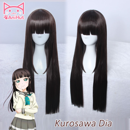 AniHut Kurosawa Dia Wig Love live Sunshine Lovelive Aqours long straight Cosplay Wig