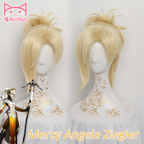 AniHut OW Mercy Wig For Women 35cm/13.78in Blonde Heat Resistant Hair Game OW Angela Ziegler Mercy Cosplay Wig Synthetic Hair