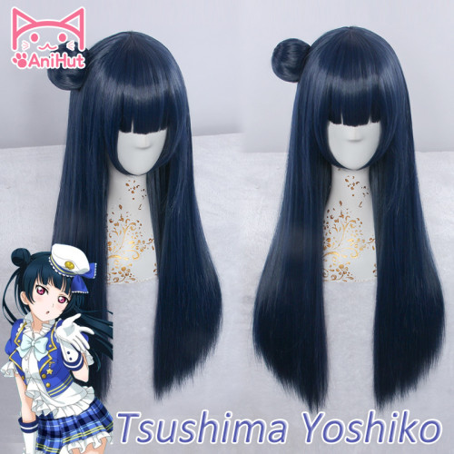 AniHut Tsushima Yoshiko Yohane Wig Love Live Sunshine Aqours Cosplay Wig Blue Long Straight Hair