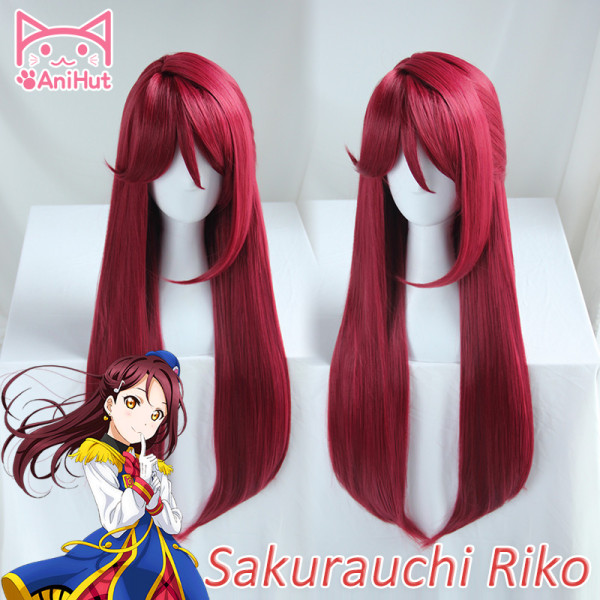 AniHut Sakurauchi Riko Wig Love Live Sunshine Lovelive Aqours Long Straight Cosplay Wig