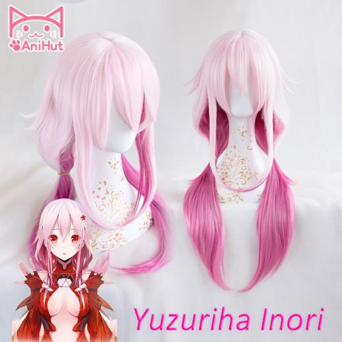 AniHut Yuzuriha Inori Wig Gulity Crown Cosplay Wig Pink Synthetic Hair