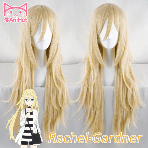 AniHut Rachel Gardner Cosplay Wig Anime Angels of Death Ray 90 CM Blonde Synthetic Cosplay Hair