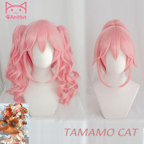 AniHut Tamamo No Mae Wavy Curly Ver Fate Grand Order Cosplay Wig Synthetic Pink Women Hair Tamamo Cat Cosplay