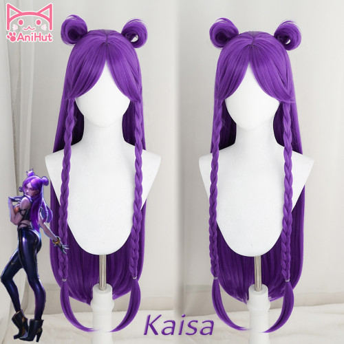 Anihut League of Lengends KDA Kaisa POP/STAR Cosplay Wigs Women Long Straight Purple Wig