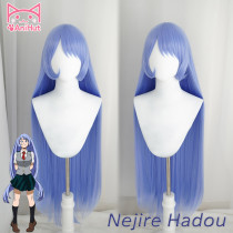 AniHut Anime My Hero Academia Nejire Hadou Cosplay Wig 100CM 39IN Blue Wigs Big 3