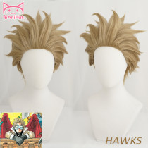 AniHut Hawks No.2 Boku No Hero Academia  Short Brwon Cosplay Wig My Hero Academia Cosplay