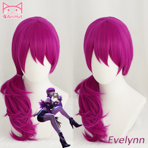 Anihut LOL Game Cosplay Wig KDA POP/STAR Evelynn Cosplay Wigs Women Long Straight Purple Wig