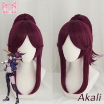 Anihut LOL Game Cosplay Wig KDA POP/STAR Akali Cosplay Wigs Women Long Straight Purple Red Wig