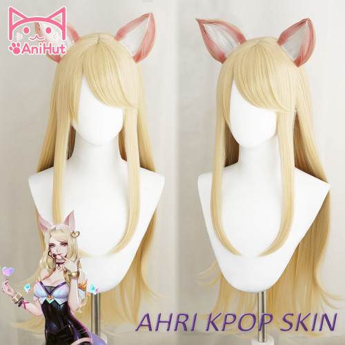 Anihut LOL Game Cosplay Wig KDA Ahri POP/STAR Cosplay Women Long Straight Blonde Wig League of Legends KDA Ahri KPOP SKIN Hair